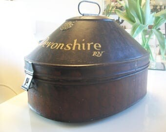 Hat Box / Antique / 19th. Century Original Toleware  English  ( Gieves)  Naval Officers Hat Box.