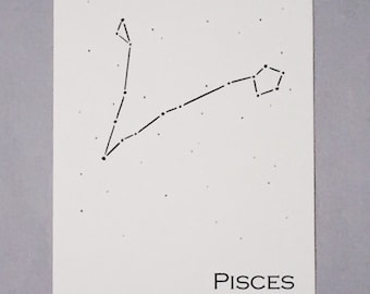 Pisces Constellation Zodiac Sign Art Print 5x7 / Pen and Ink Print Reproduction / Wall Art / Home Decor / February - March Birthday