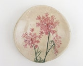 Pink and Green Pressed Queen Annes Lace Botanical Hangable Catch All Dish (no 760)