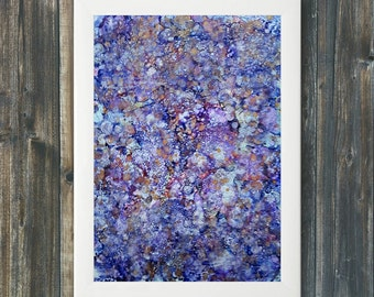 Purple and blue abstract painting original artwork modern art