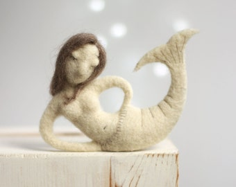 Needle Felted Mermaid - Dreamy Little Mermaid - Needle Felted Art Doll - Felted Art Mermaid - Home Decor Naiad - Summer Sea Cottage Decor