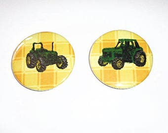 Badge, Fabric Badge, 45mm Badge, Pin Back Badge, Handmade Badge, Button Badge, John Deere Badge, Accessories, Green Tractor Badge