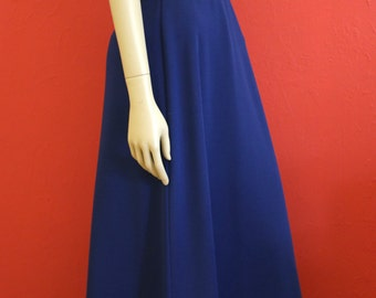 70s Nautical Blue Dress Long Navy Dress