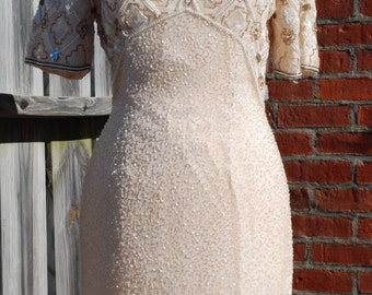 Beautifully beaded and sequined vintage dress sz8 stenay