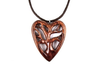 Wooden Heart Pendant, Tree of Life Pendant, Wood Heart Necklace, Wooden Tree of Life Necklace, 5th Anniversary Gift for Her, Wood Jewelry