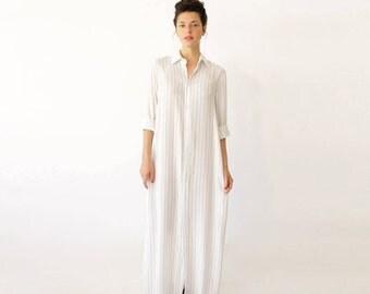 White Striped Dress, Long Kimono Dress, Maxi Kimono, Casual Wedding Dress, Minimalist Dress, Casual Beach Dress, White Kaftan Dress, Boho