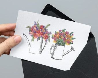 Blooming Watering Can Greeting Card