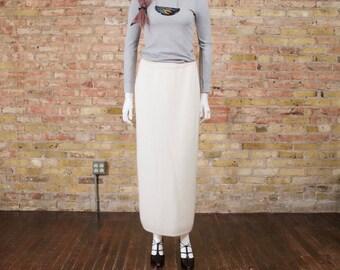 angora sweater skirt / lambswool skirt / column skirt / cream sweater skirt / 90s minimalist / knit skirt / midi skirt / fuzzy / maxi