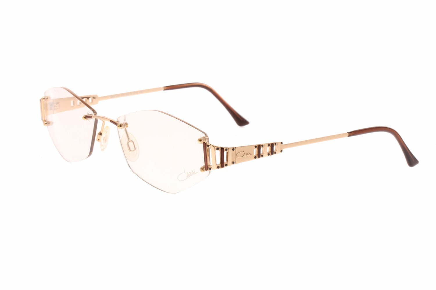 5d1a4abe13 440 col 209 rimless glasant vintage eyeglasses frames with golden metal  cutoff temples