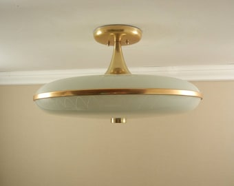 """Iconic Vintage 1950's Mid-Century Modern Ceiling Light Fixture by Imperialites, Atomic Ranch, UFO, Large 19""""- New Wiring"""