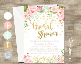 Gold Confetti Bridal Shower Invitation, Bridal Shower Invitation, Watercolor Floral Bridal Shower, blush pink & gold glitter invite, T20
