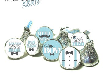 LITTLE MAN Baby Shower stickers ~ for Hershey's Kisses® Chocolate - Mustache Bow ties and Bowlers