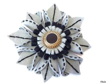 Embroidered Felt, Flower Brooch, Grey Black and Gold, Art Deco, Flower Pin, Felt Flower, Felt Flower Brooch, Felt Brooch, Wedding Accessory