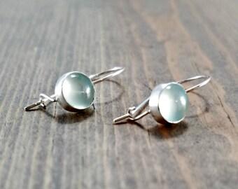 Blue Chalcedony Earrings, Kidney Wire Earrings, Blue Gemstone Jewelry, Something Blue, Locking Earrings, Blue Earrings, Lightweight Earrings