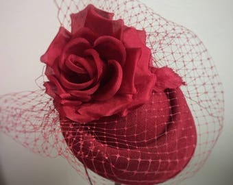Fascinator Hat, Kentucky Derby Hat, Red Hat,  Famous Hat Luncheon Hat, Hats in the Park, Ladies Day, Tea Party, Derby Party Hat, Style F-58