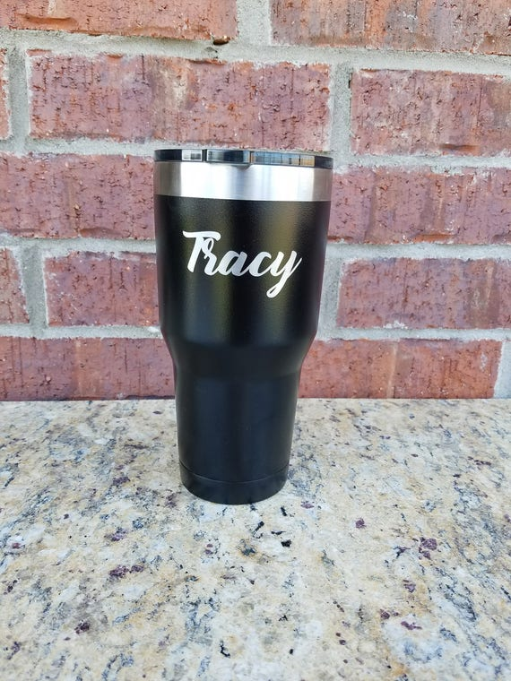 Father's Day Gift, Black Laser Engraved Powder Coated Tumbler, 30 oz.