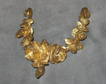 Early 1900s French Rose Leaf Gilded Brass Antique Ormolu, Ormolu, Antique Ormolu, Antique Ormolu Decorative Object, Home Decor, Ormolu Roses
