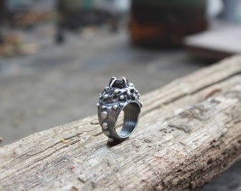 Starburst Mountain Ring with Black tourmaline, natural tourmaline ring, heavy ring, sterling silver ring, statement ring, healing jewelry,