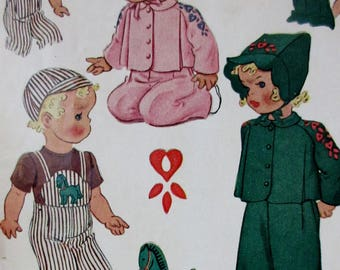 Vintage 1944  McCalls Toddler Boy and Girls Play Suit, Overalls, Shirt, Jacket and Hat or Bonnet with Transfer Pattern #1139  Size 1