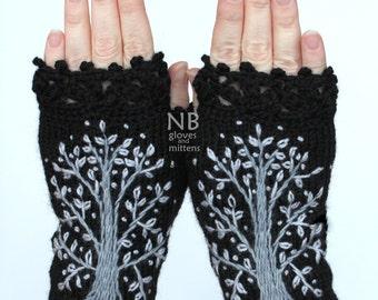 Hand Knitted Fingerless Gloves, Black, Gray Trees, Gloves & Mittens, Christmas Tree,