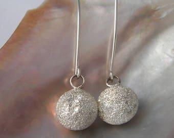 Handmade Stardust Design .925 Sterling Silver Dangle Sphera Earrings