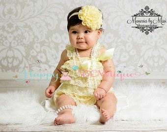 baby headband, Large Light Yellow Chiffon Lace flower puff headband, baby girls Headband, newborn headband, Girls headbands, baby girls