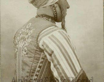 Netherlands Holland woman in ethnic dress antique photo