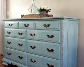 SOLD TO TRISH - Charming Farmhouse, Cottage Chic Mint Green/Soft Blue Dresser - Nursery - Entryway - Media Console - Buffet