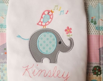 Elephant Bird Flower Music Notes Design File for Applique Embroidery Machine Monogram Instant Download Cute Baby Girl Summer Spring