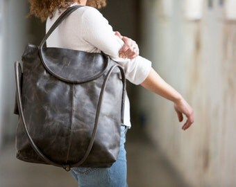 Gray leather tote, crossbody handbag, office leather bag, top handle bag, large leather bag, oversize leather bag, leather handmade bag