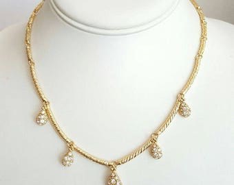 Nolan Miller Necklace - Pave Crystal Raindrops - S2053