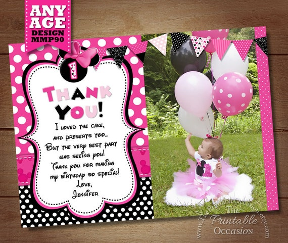 minnie mouse thank you card with photo minnie thank you card note