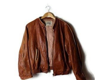 Vintage Adam&Eve Brown Leather Blouson /Jacket from 1980's*