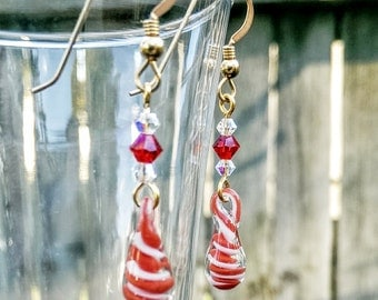 Red & White Glass Swirly Drip Earrings with Swarovski Crystals, Gold Filled Hooks,Handmade Lampwork