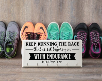 Perfect Runner's Gift Idea.  Running Medal Holder with Hebrews 12:1, Keep Running the Race that is Set Before You with Endurance