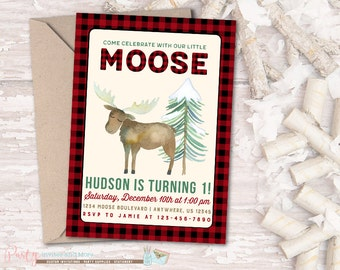 Moose Birthday Invitation, Moose Invitation, Little Moose Birthday Inviation, Winter Birthday Invitation, Buffalo Plaid Birthday Invitation