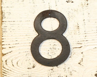 8 - 5 Inch Cast Iron Metal Number 8 - WITH DRILL HOLES for Mounting