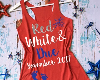 Red White and Due® Pregnancy Shirt. 4th of July Pregnancy Tank Top. Fourth of July Pregnancy Tank. Pregnancy Pictures Shirt. Announcement