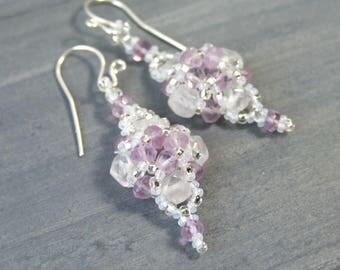 Lavender Earrings, Snow Quartz Lavender Amethyst Earrings, Artisan Earrings Pretty Earrings Unique Handmade Jewelry Sterling Silver Beadwork