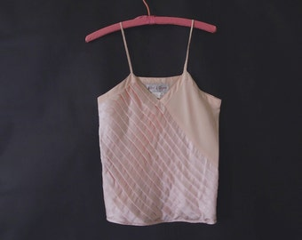Pleated Pink Silk Camisole Sz M