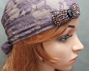Young Purple Tichel , Head Scarf , Chemo Scarf , Hair Snood , Jewish Hair Covering , Headscarves , Mitpachat