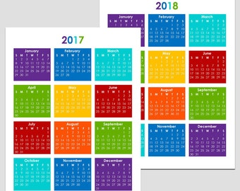 2017 & 2018 and other Yearly Calendars - Letter - 5.5 x 8.5