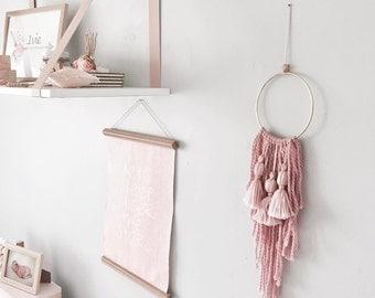 Tassel wall hanging, pink dream catcher, modern dream catcher, pink wall hanging, tassel wall decor, tassel decor, nursery decor, boho decor