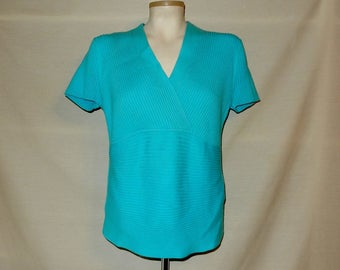 Sz L XL Cotton / Nylon Knit Top Pullover Sweater - Turquoise -  Surplice - Empire Waist - August Silk - Casual or Wear to Work