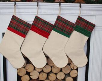 Plaid Christmas Stocking Red and Green Plaid stocking red flannel christmas plaid classic stocking