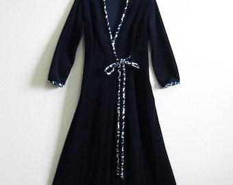 Black Velveteen Robe Vanity Fair Large Soft Black Robe Warm 10 Mad Men Leopard Trim