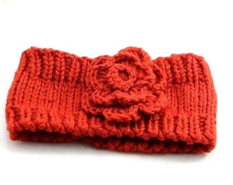 Knit Earwarmer  Flower Headband Chunky Headband Yoga Headband Fitness Headband Running Headband  Teen to Adult Gift Ideas