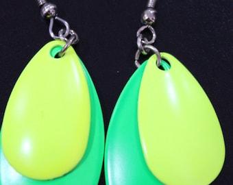 Green & Yellow Spinner Blade Earrings