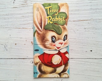 Tiny Rabbit Book . 1953 . Whitman Shape Book . Die Cut Paperback . Vintage Bunny Story . 1950's Children's Book . Kids . Diecut . Die-Cut