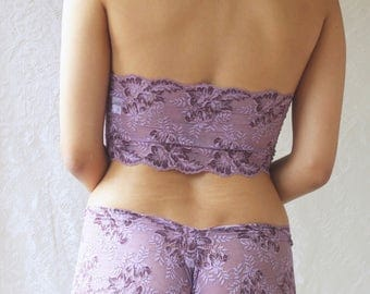 Lace Halterneck Bralette and French Knicker Matching Lingerie Set in Purple Heather. Handmade from Brighton Lace.